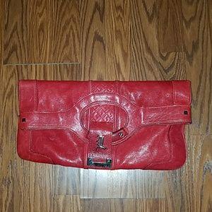 L.a.m.b. Red Leather Clutch Handbag
